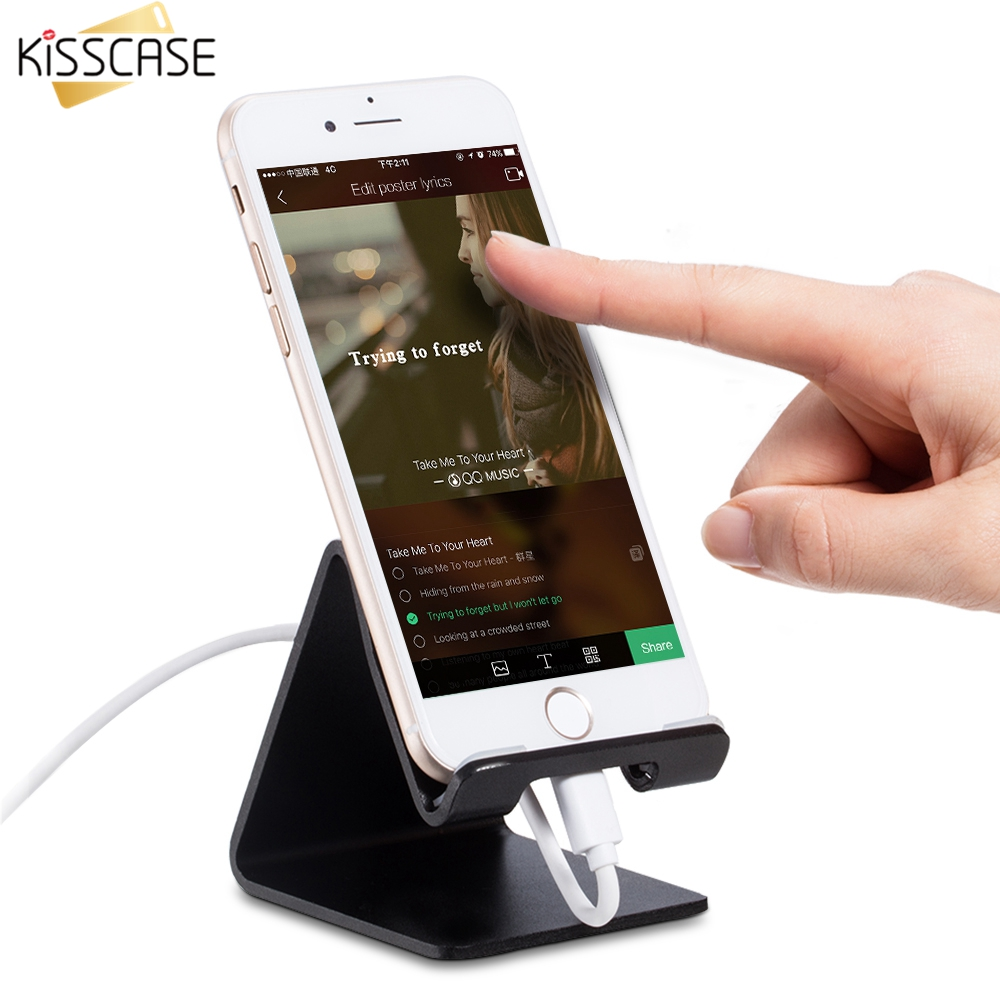 KISSCASE Universal Mobile <font><b>Phone</b></font> + Tablet PC <font><b>Stand</b></font> Holder Aluminum Alloy Charging Dock Support Cradle Travel Mini Portable Holder