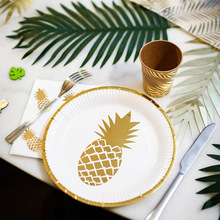 Omilut Pineapple Theme Party Supplies Hawaiian Flamingo Birthday Tropical Leaves Decor Hot stamping Disposable Set Supplie
