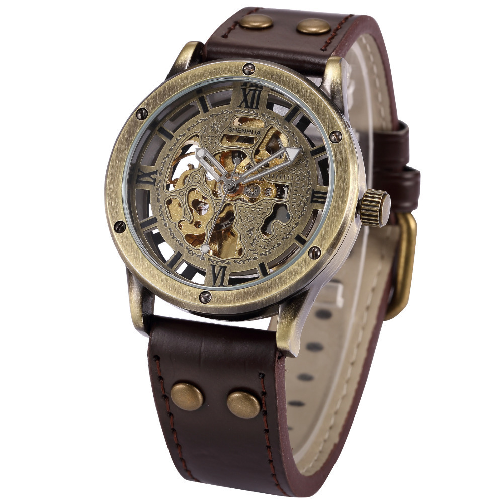 aliexpress com buy vintage bronze men s skeleton watches clock aliexpress com buy vintage bronze men s skeleton watches clock male leather strap antique steampunk casual automatic skeleton mechanical wristwatch from