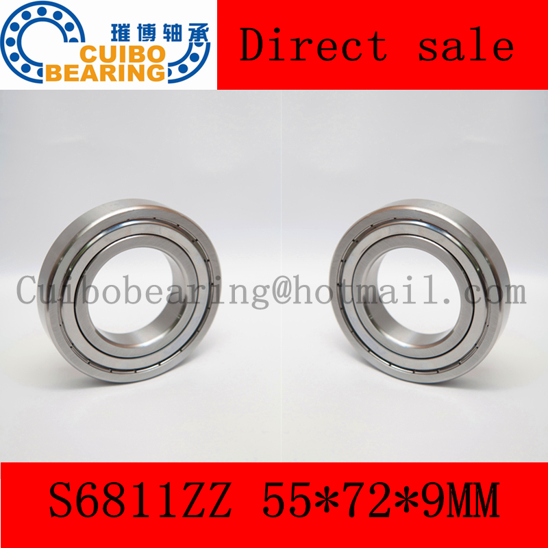 Free Shipping  S6811 ZZ  Stainless Steel Shielded Miniature Ball Bearings s6811zz  size:55*72*9mm free shipping s6811 zz stainless steel shielded miniature ball bearings s6811zz size 55 72 9mm