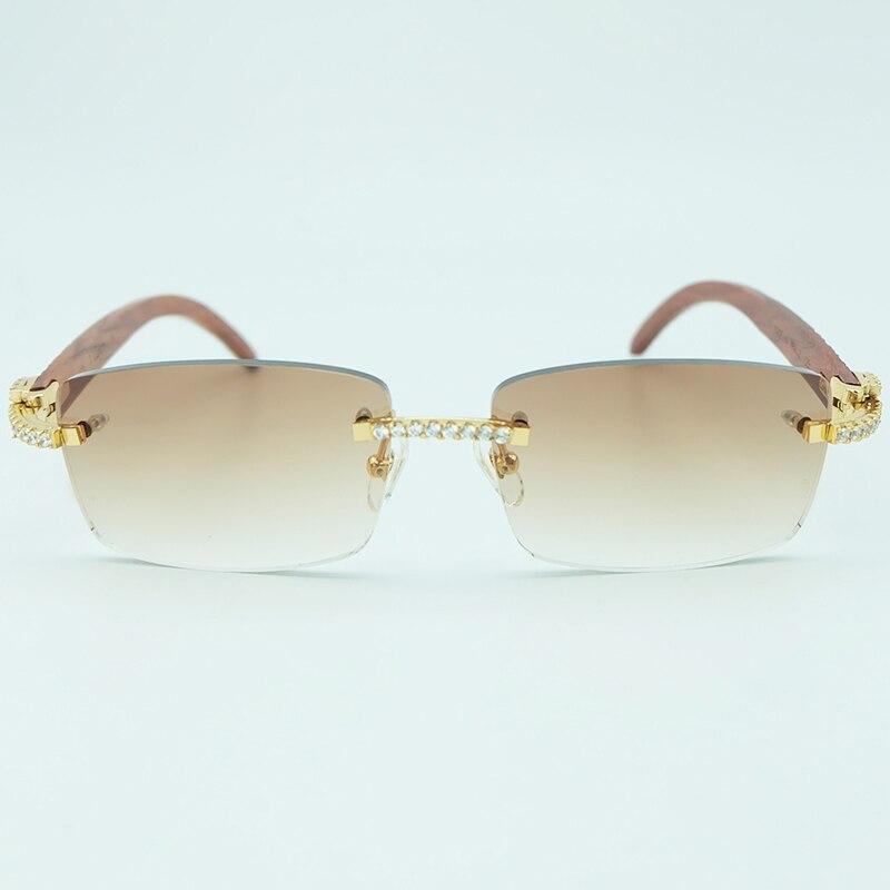 3f72df2f994ec Rhinestone Square Sunglasses Luxury Wood Buffalo Horn 3mm Diamond ...