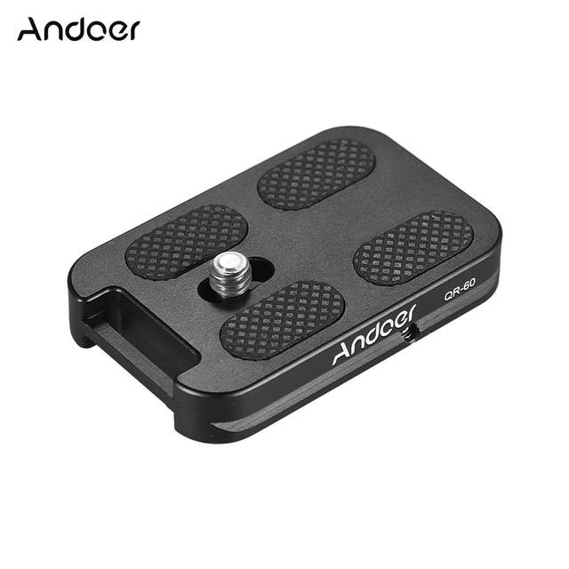"Andoer QR 60 퀵 릴리스 플레이트 1/4 ""스크류 마운트 (캐논 니콘 소니 dslr 용 arca swiss 볼 헤드 삼각대 용 부착 루프 포함)"
