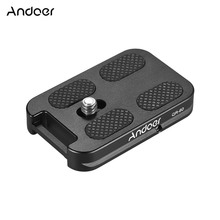 """Andoer QR 60 Quick Release Plate 1/4"""" Screw Mount w/Attachment Loop for Arca Swiss Ball Head Tripod for Canon Nikon Sony DSLR"""