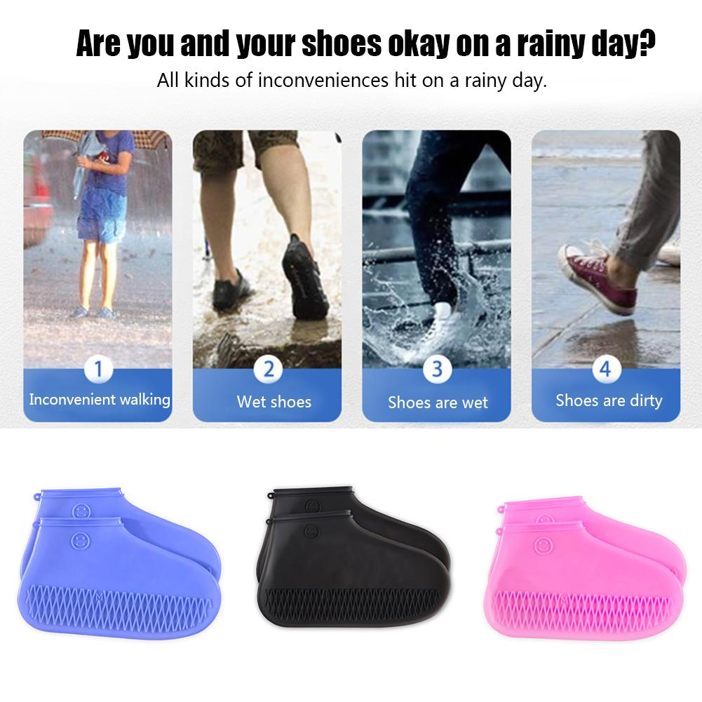 Image 4 - A Pair Of Silicone Shoe Covers Are Rainproof Non slip Thick Shoe Cover For Easy Carrying Outdoor Accessories Rainy Season-in Umbrella Accessories from Home & Garden