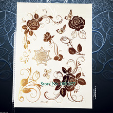 1PC 3D Removable Waterproof Tattoo Sticker,Henna Gold Rose Flower Tattoo, Women Makeup Party Tattoo, Flash Metallic Tatoo PCT137