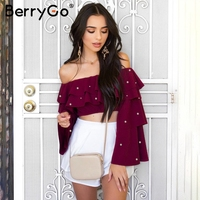 BerryGo Off Shoulder Ruffle Blouse Shirt Women Pearl Long Sleeve Cropped Chiffon Blouse Summer Top Female