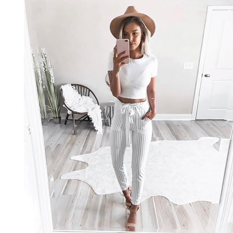 2020 New Striped OL Chiffon High Waist Harem Pants Women Stringyselvedge Summer Style Casual Pants Female Trousers 1