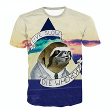 New Fashion 3D T-shirt Sloth Motto T Shirt Live Slow Die Whenever Animal Brand Design Clothes Women Men 3d Tee Tops S-5XL R2430