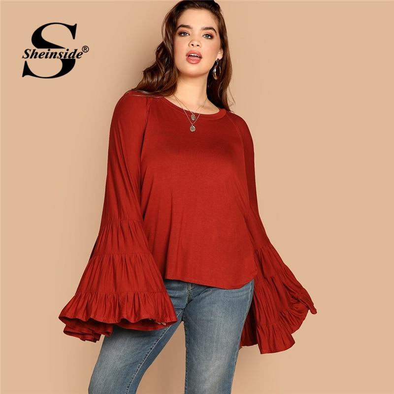 Sheinside Rust Plus Size Exaggerate Bell Sleeve Blouse Shirt Women Long Sleeve Tops 2019 Spring Autumn Elegant Blouses & Shirts