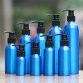 1-2 unids 30 azul De Aluminio de 500 ml Botella de Loción vacía de plástico Negro botella de presión de emulsión bomba tarro cosmético muestra subpaquete viajes