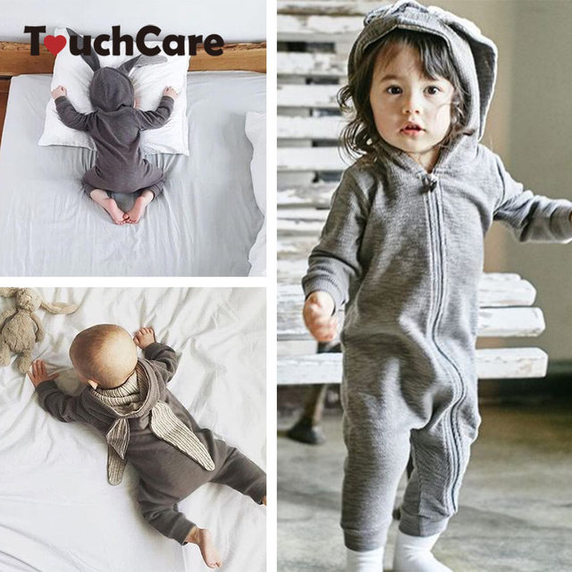 528575610a1 Bunny Ear Baby Romper Rabbit Ear Hooded Baby Rompers Long Sleeve Infant  Jumpsuit Newborn Clothing Spring Boy Girl Costume Outfit-in Rompers from  Mother ...
