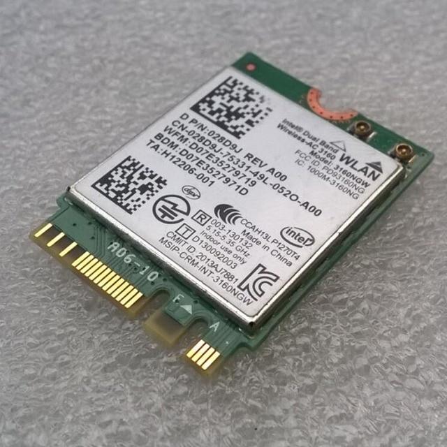 Int AC-3160 Dual Band Sem Fio 802.11 ac/a/b/g/n WiFi + Bluetooth 4.0 M2 Card, D P/N 28D9J 028D9J