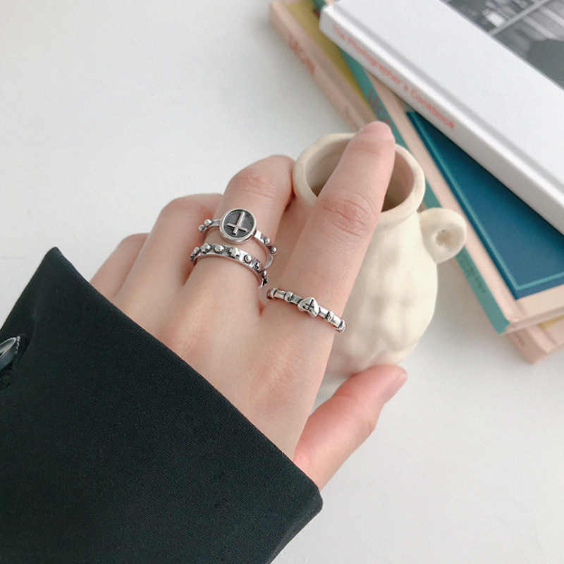 F.I.N.S personalidad Vintage 925 anillos de plata esterlina anillo de dedo cruzado apilable plata 925 abierto Punk anillo femenino joyería fina