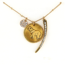 New Women's Men's clothing & accessories Simple Retro Round elephant amulet charm pendant multilayer sweater chain Necklace