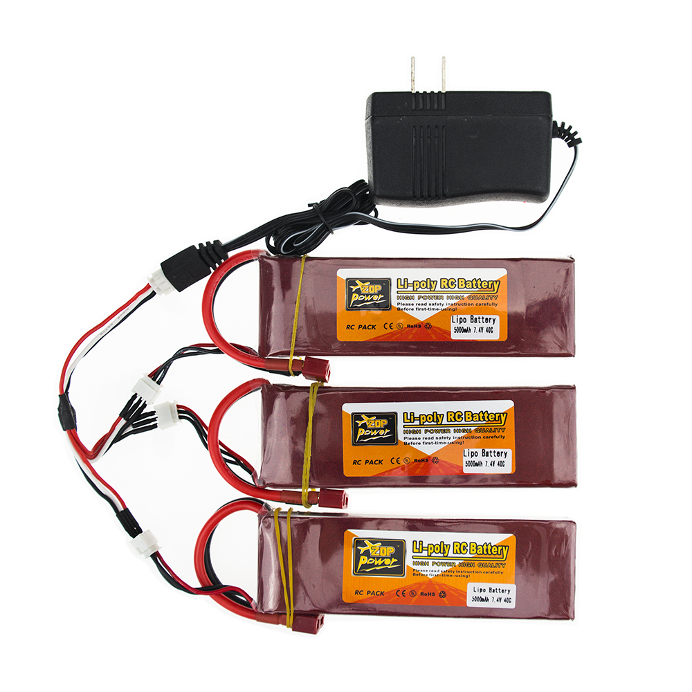 ФОТО 3X RC Drone Batteria 5000mah Lipo 7.4 V Battery 40C XT60 T Plug With Fast Charger 3in1 Cable Set For RC Quadcopter Helicopters