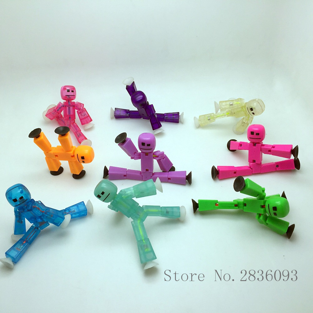 10pc Stikbot/bag Suction Cup Funny Stick Robot Action Figure Children Gifts Models Stickbots Randomly Sending
