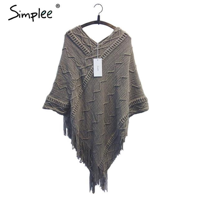 Simplee batwing luva tassel hem tricô tricot poncho capa manto camisola 2015 mulheres caem de moda Outono inverno jumper
