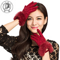 PTAH Women Winter Lace Solid Wool Gloves Wrist Rabbit Fur Mittens Ladies High Quality Outdoor Warmth Guantes Free Shipping 9819