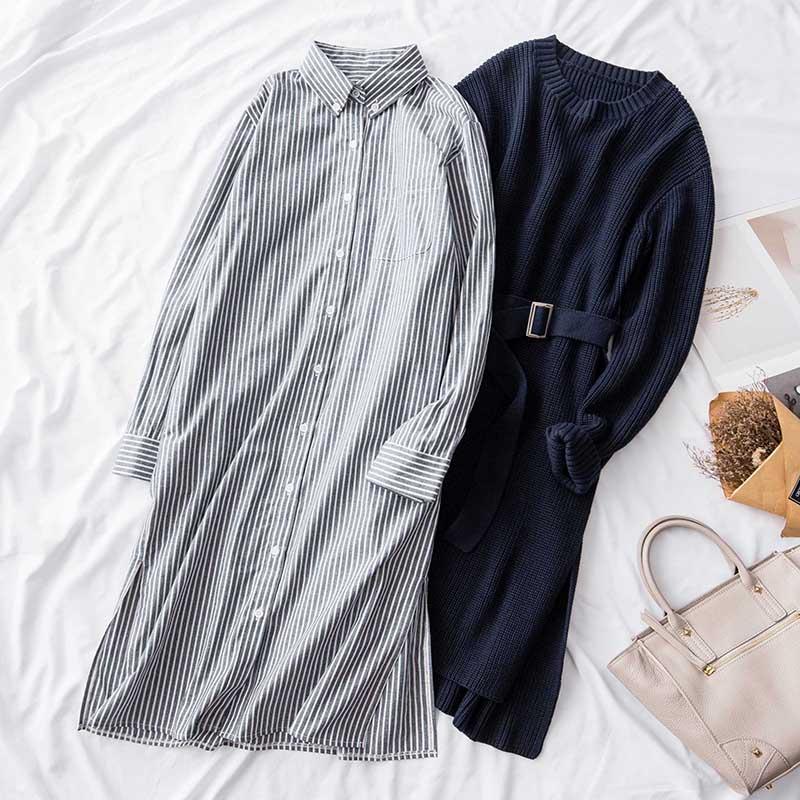Herbst winter 2018 frauen 2 stück kleider anzüge gestrickte lange pullover pullover und gestreiften shirts kleider top qualität-in Damen-Sets aus Damenbekleidung bei  Gruppe 2