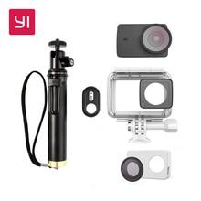 YI 4 K ve 4 K Artı Eylem Kamera Aksesuarları Kitleri Su Geçirmez kılıf Özçekim sopa & Bluetooth Uzaktan & Koruyucu Lens ve Deri vaka