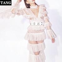 Summer Women Elegant Ruffles Layer Long Flare Sleeve White Mesh Pleated Long Maxi Dress 2019 Bohemian Bech Dress Runway Dress