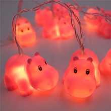 Christmas Lighting String Pink Hippo LED Night Light 1.5M Animal Holiday Lamp Giraffe Shark Chick Kids Cute Gift Room Decor AA