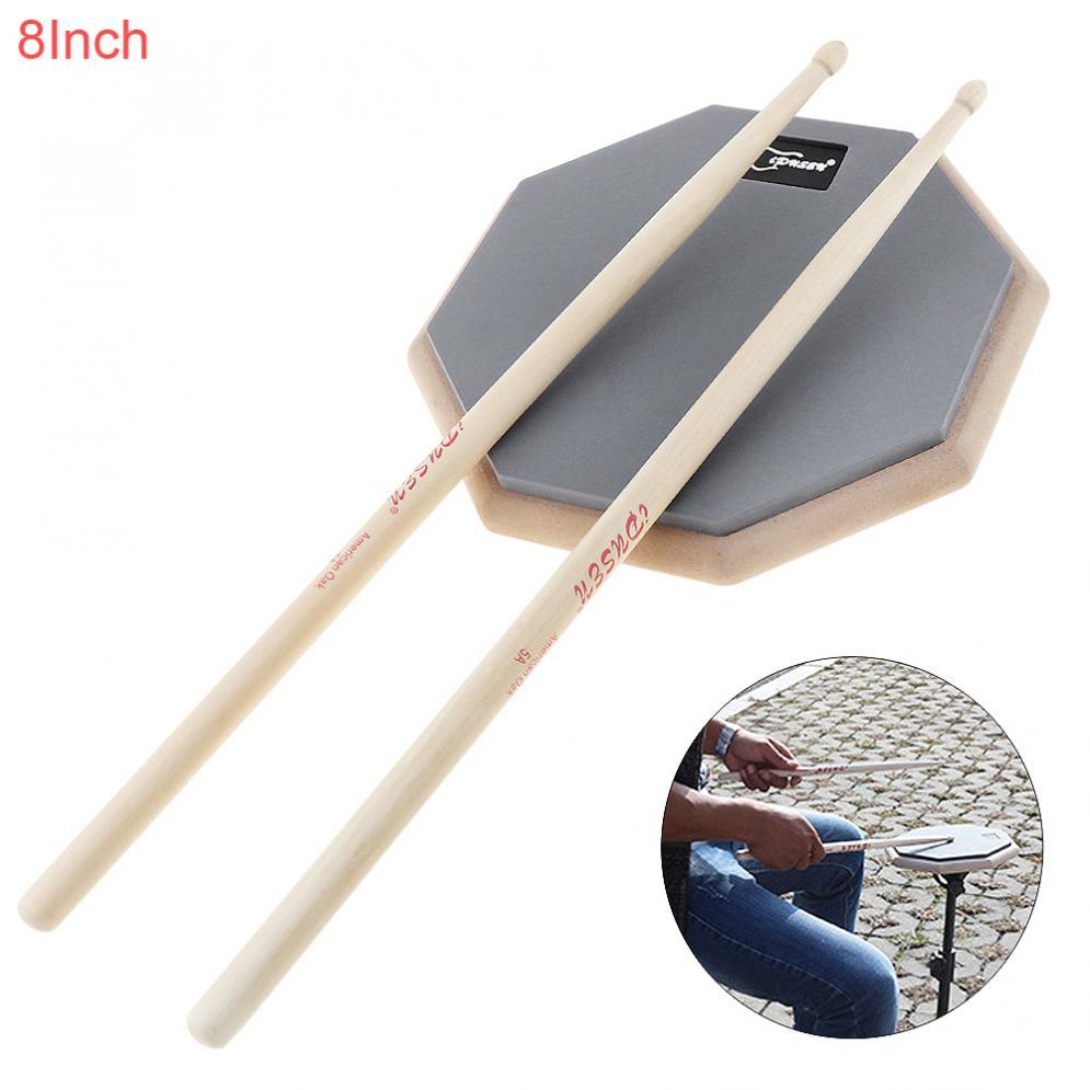 8 Inch Rubber Wooden Dumb Drum Practice Training Drum Pad  With Drum Sticks