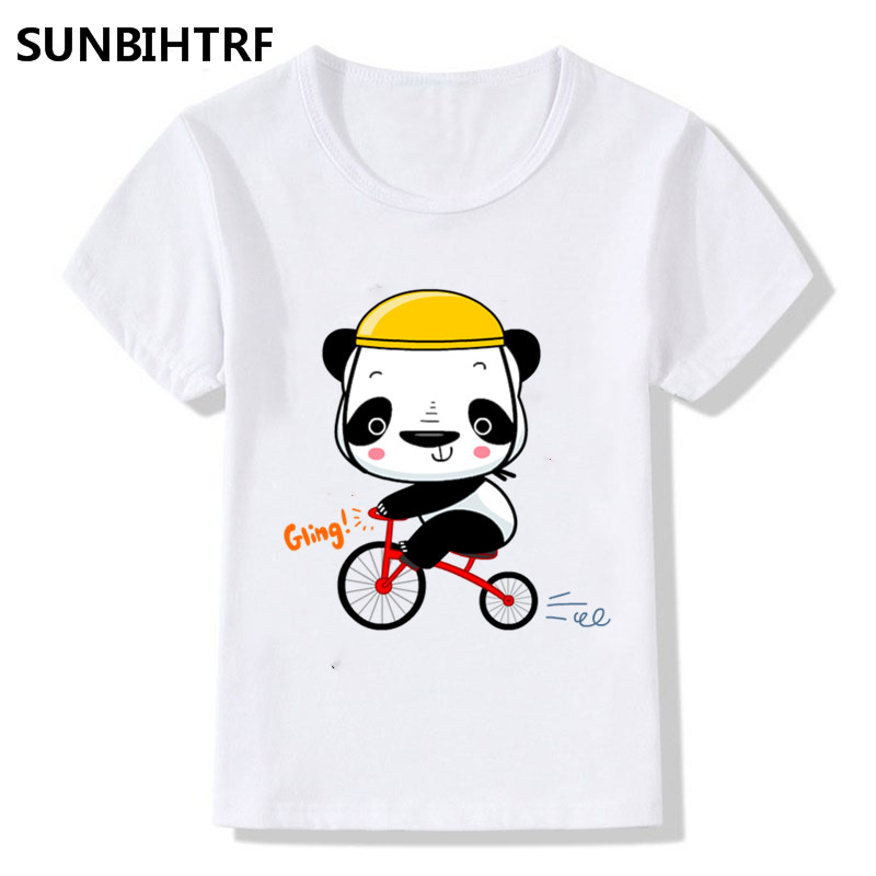 Big Boy And Girl T-shirts Children Clothes Print Giant Pandas On Bicycles Top Tee Baby T Shirt 2018 Summer Soft Top Tee Shirt Less Expensive