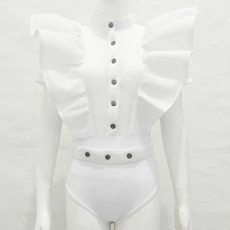Черный боди с оборками для женщин 2018 летний выдалбливающий комбинезон Femme сексуальный короткий сетчатый Облегающий комбинезон плюс размер S-2XL