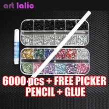 HOT 6000 pcs x 2mm RHINESTONES GEMS FOR NAIL ART DECORATION FREE PICKER PENCIL GLUE