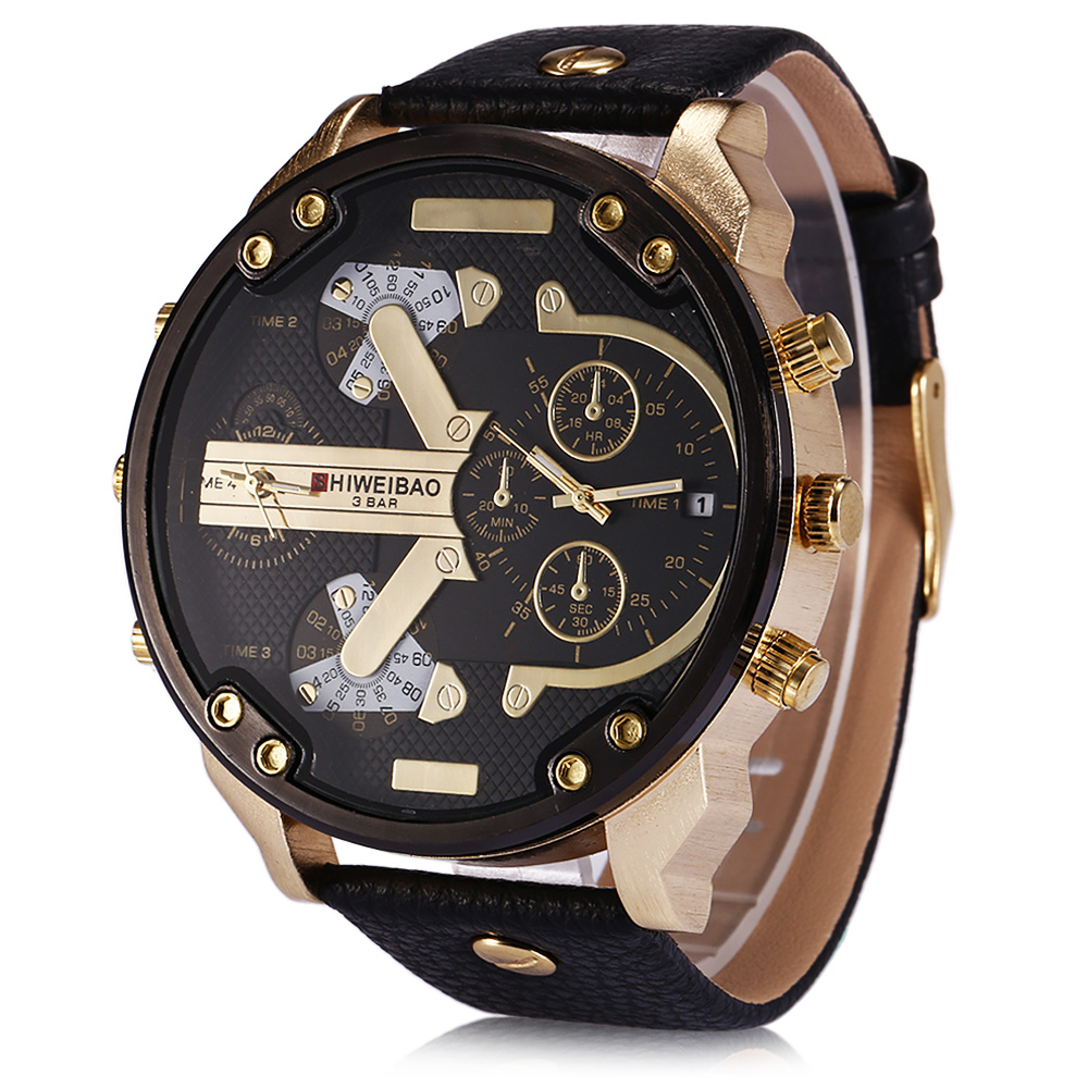 Cool Mens Watches Big Golden Case DZ Military Style Quartz-Watches Relogio Masculino Leather Strap Dual Times Sports Wristwatch