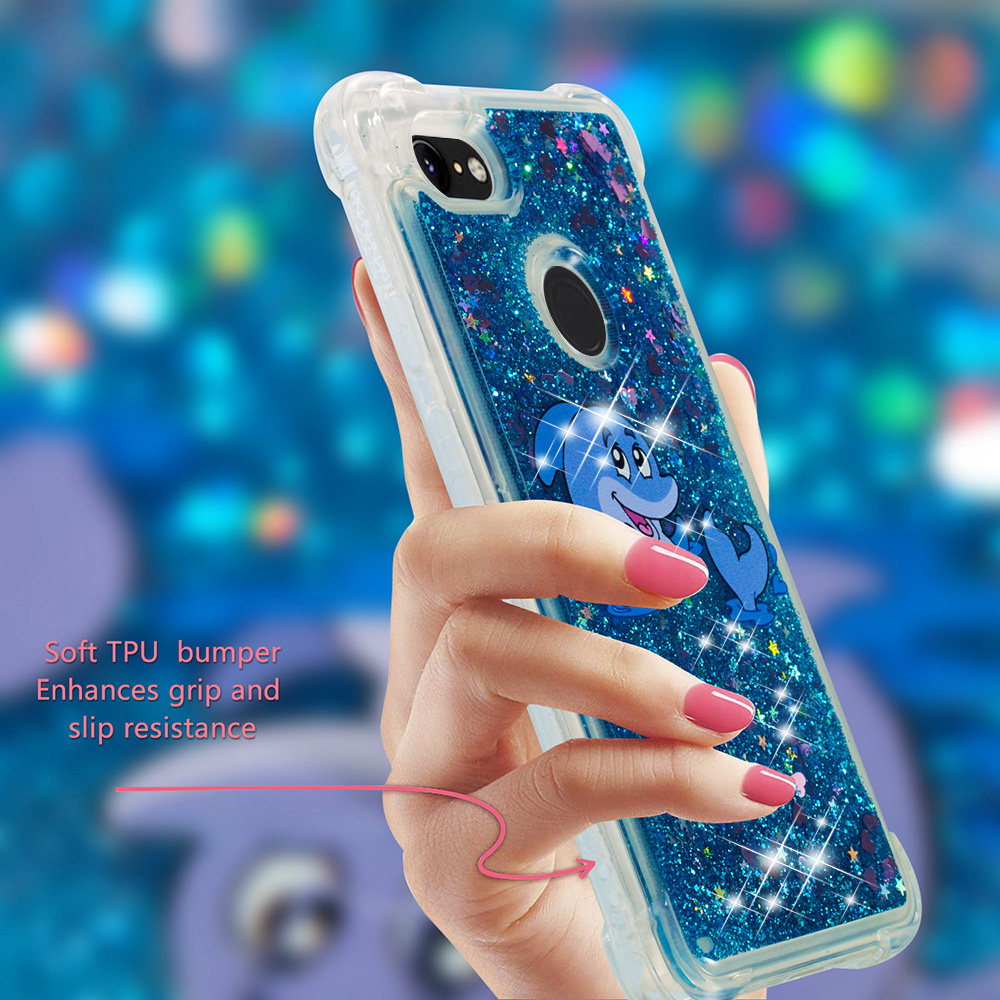 For Google Pixel 3/3xltransparent Drop Resistant Tpu Cover New Shockproof Glitter Liquid Sand Quicksand Heart Case Coque Phone Bags & Cases
