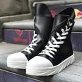 Street style personalidade grosso plataforma botas lace Martin botas militares botas de muffin preto e branco jovem hip hop