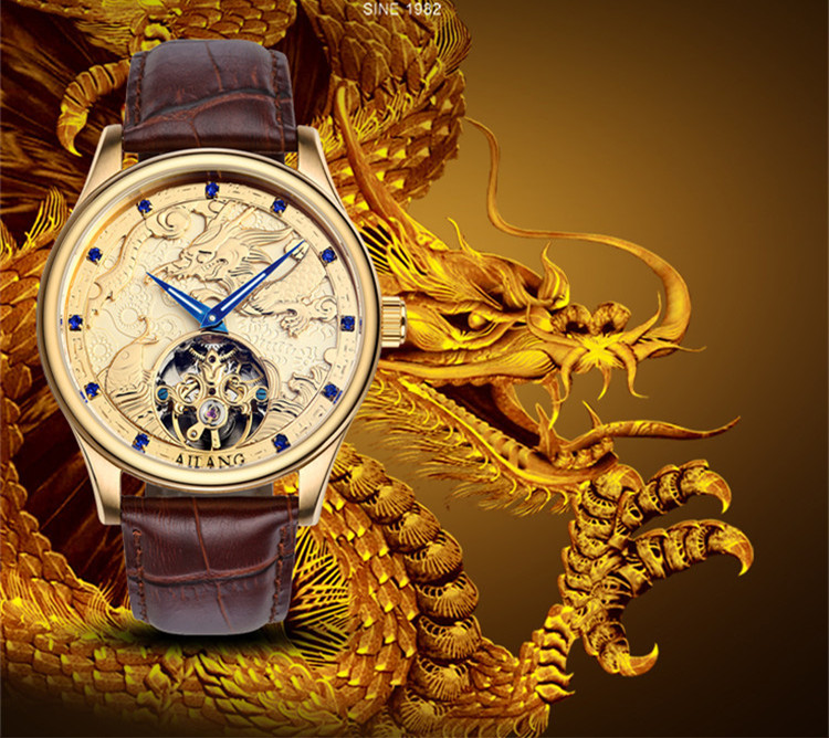 Totem Element Cool Guys Relief Dragon Horse Watches AILANG Men Crystals Tourbillon Wrist watch AUTO Self Wind Leather Reloj W024 totem element cool guys relief dragon horse watches ailang men crystals tourbillon wrist watch auto self wind leather reloj w024