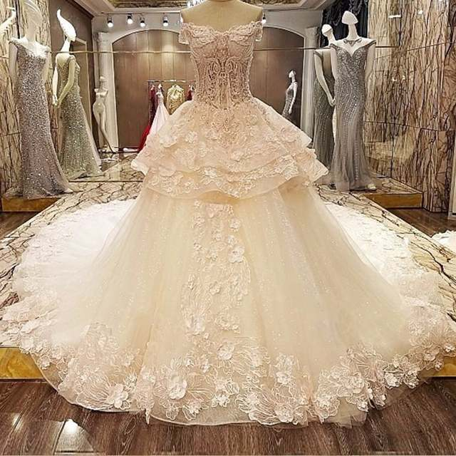 Backlake Queen Wedding Dress 3d Flowers Lace Sweetheart Ball Gown