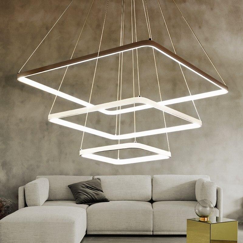 3 層の正方形のリング LED ペンダントライト現代の調光可能ペンダントランプスクエアホワイトぶら下げライトリビングルームダイニングルームランプ|suspension light fixtures|light fixturespendant lamp -