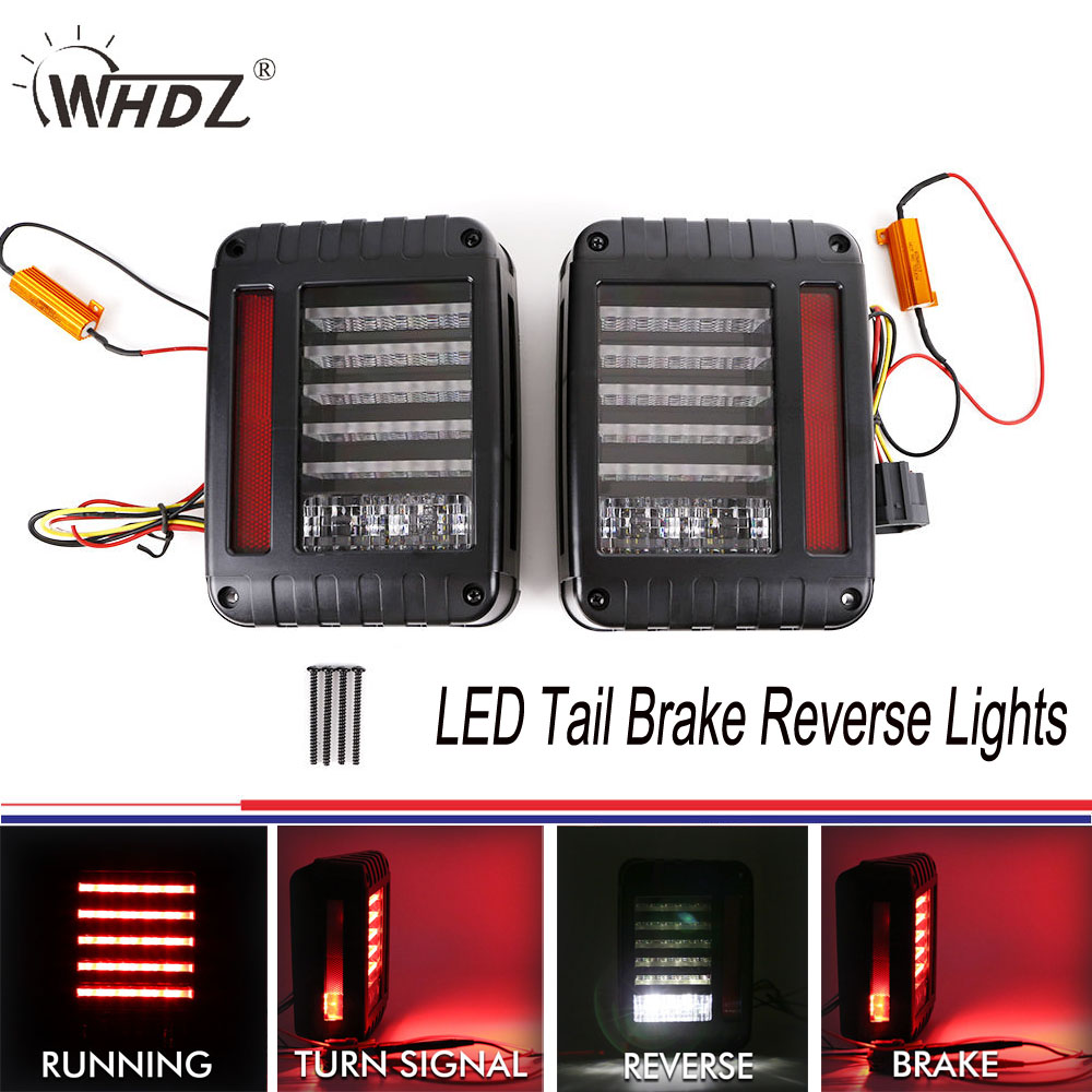 LED Tail Brake Reverse Lights Backup Rear Reverse Light Assembly Kit Fit 07-16 Jeep JK Wrangler Plug&Play US Version 3Generation 6 x 8 flat mount led tail light plug play replacement for jeep wrangler jk