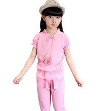 Free shipping Children s summer girls short - sleeved t shirt shorts fashion pants baby girl clothes