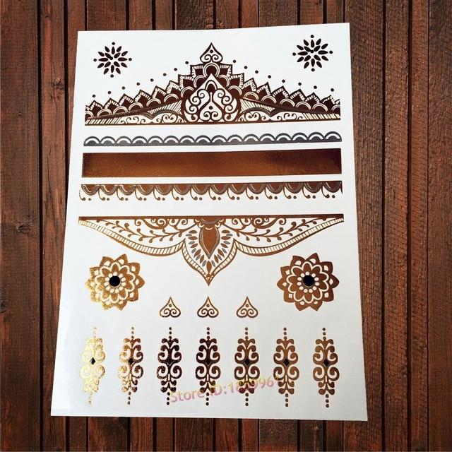 1pc Vintage Body Art Gold Tattoo Queen Crown Designs Women Henna