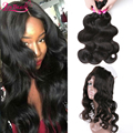 Malaysian Virgin Hair With Closure Pre Plucked 360 Frontal With Bundle Malaysian Body Wave With 360 Full Lace Frontal Human Hair