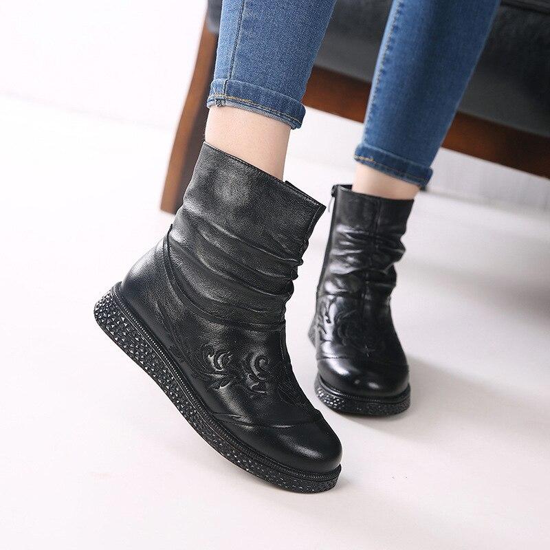 2018 Chaussures Vache Noir En Femmes Pli slip Et Mode Non Automne Bottes Nouveau Femme pourpre Cuir Rétro D'hiver Broderie De Chaud Peau J3l1TFcK