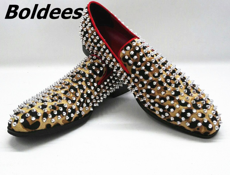 Boldees Fashion Leopard Men Loafers Spikes Studded Casual Dress Shoes Slip On Men Flats Smoking Driving Flats Inside Red Menshoe fashion tassels ornament leopard pattern flat shoes loafers shoes black leopard pair size 38
