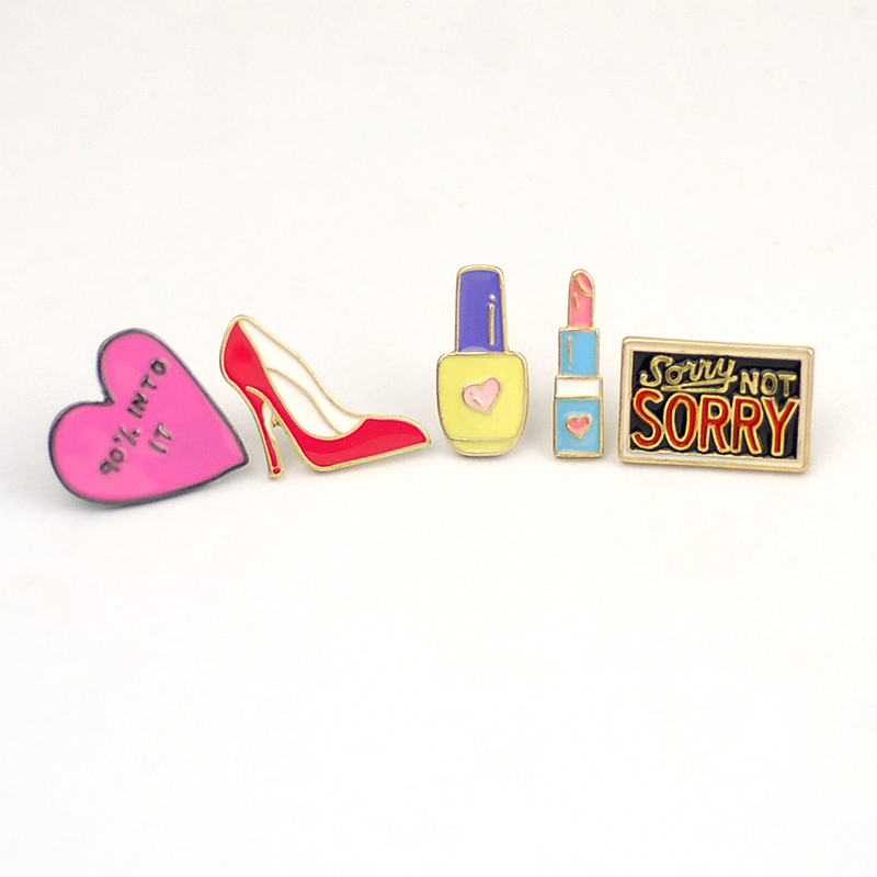 Great 1PC Alloy Enamel Brooches Heart High Heel Lipstick Badge Brooch Pin Cute  Lapel Pins Funny Women Collar Clothing Accessories In Brooches From Jewelry  ...