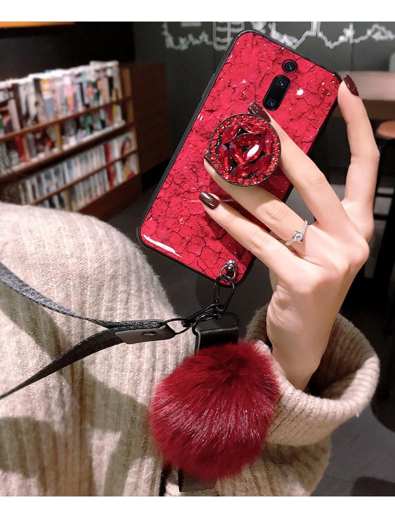 HTB1Fy2waoT1gK0jSZFrq6ANCXXae For Xiaomi Mi 9T 9 CC9 CC9E A3 8 Lite 6X A2 5X A1 Note 10 3 Redmi K20 Pro Mix 2 Max 3 Case Cover Glitter Plush Ball Hand Strap