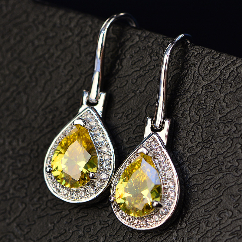 HTB1Fy2yLmzqK1RjSZFLq6An2XXaL - OneRain 100% 925 Sterling Silver Water Drop Sapphire Citrine Topaz Amethyst Gemstone Drop Dangle Hook Earrings Jewelry Wholesale