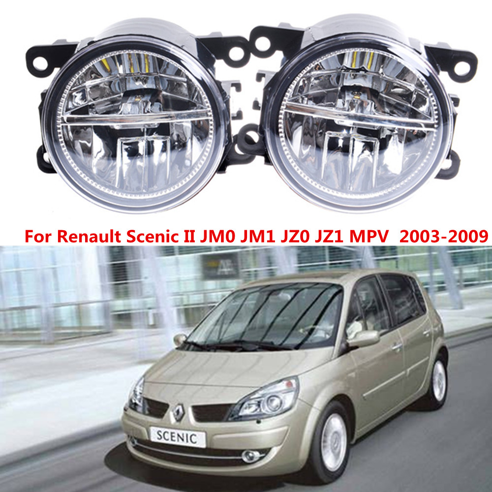 For Renault Scenic II JM0 JM1 MPV  2003-2009 10W Front bumper LED fog lights Car styling drl led daytime running lamps 1SET куплю тормозные колодки на renault scenic rx4