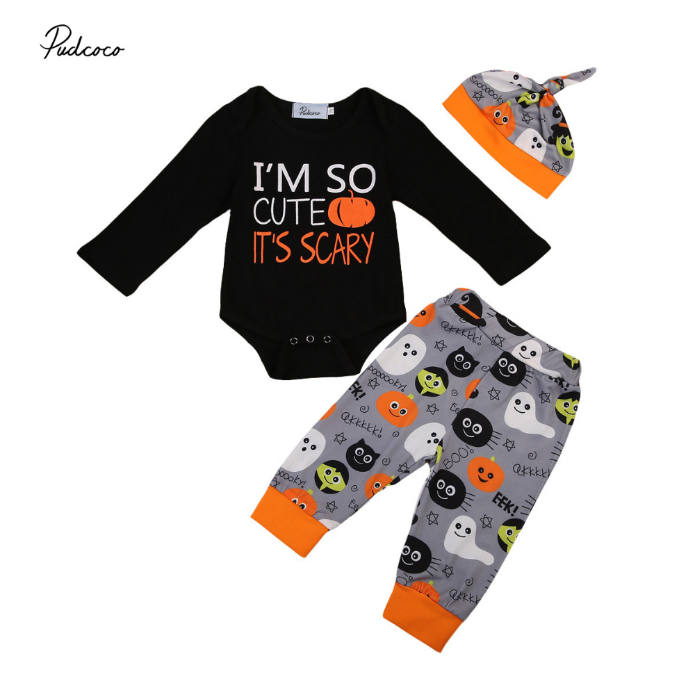 Infant Newborn Baby Boy Girls Halloween Winter Clothing Set Cotton Pumpkin Letters Long Sleeve Romper Pants Hat Outfits 3pcs