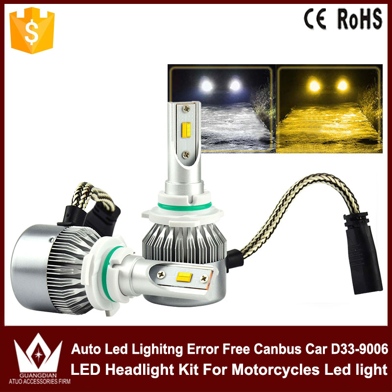 Tcart two color LED Headlight Bulbs Conversion Kit HB4(9006) p22D For plips chips 3800lm White and yellow led headlight fog lamp 1 set h7 60w 8000lm tri color led headlight csp chips golden yellow white 3000k 4300k 6000k driving fog rainy snowy lamp bulbs