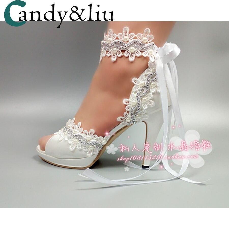 16823f64 Zapatos Hecha Blanco Boda Para A Heel Sandalias Peep Alto Correa Banquete  Mano Apliques Mujer Encaje De Fiesta Honor Tobillo 10cm Tacón ...
