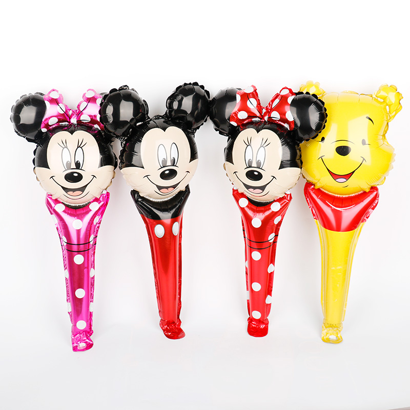 1pc <font><b>30</b></font>*61cm Disney theme <font><b>birthday</b></font> party <font><b>decorations</b></font> Minnie mouse handheld stick foil balloons cartoon mickey Winnie pooh air toy image
